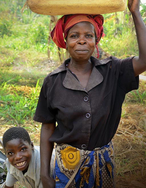 Give Water. Give Hope. Woman Carrying Water on Her Head
